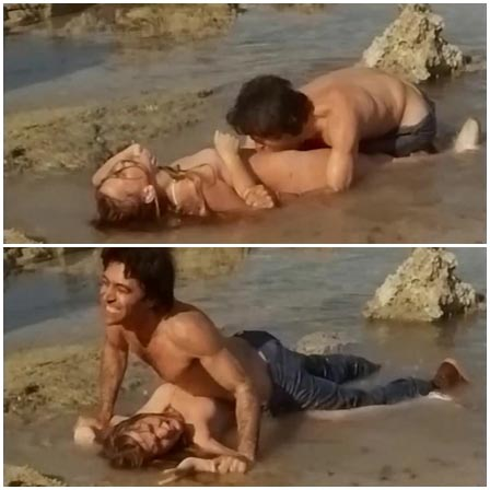 Rape of a young girl in the shallow surf