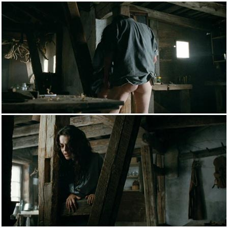 Standing rape long haired woman on the farm