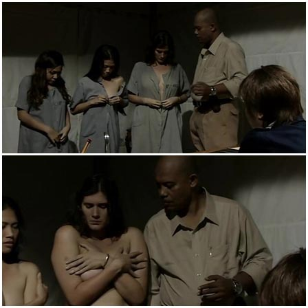 New captives in the women's prison is forced to strip