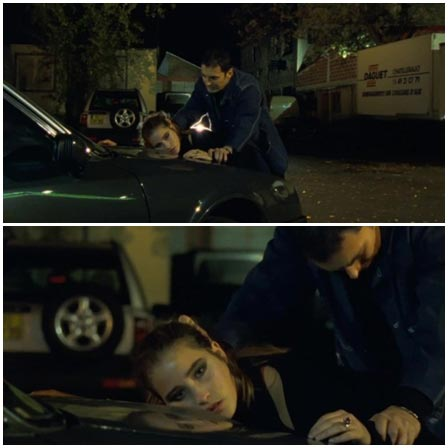 Girl is indifferent during her rape on the hood of the car
