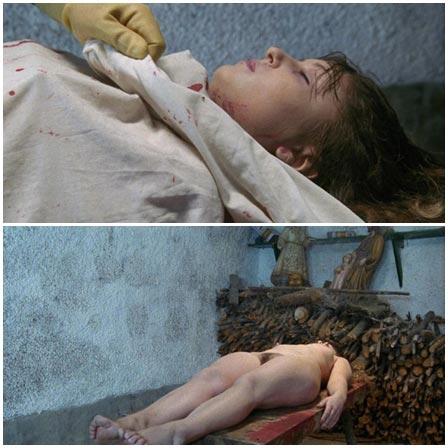 Death fetish scene #357 (naked dead woman, dismembering a dead body)