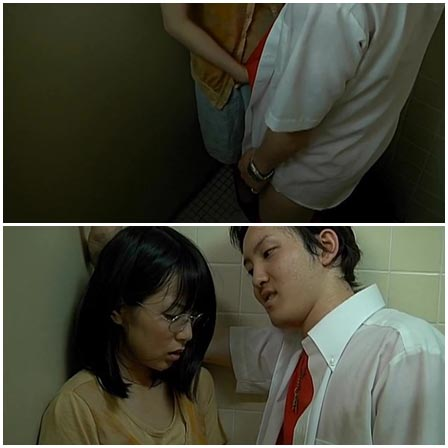 Asian girl is forced to handjob a classmate in school WC