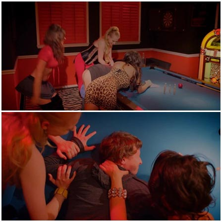 Guy gang-raped with a strapon on the pool table